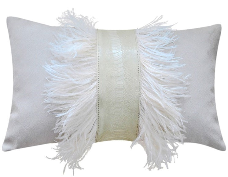 White faux suede and ostrich shin decorative pillow, 30 x 50cm