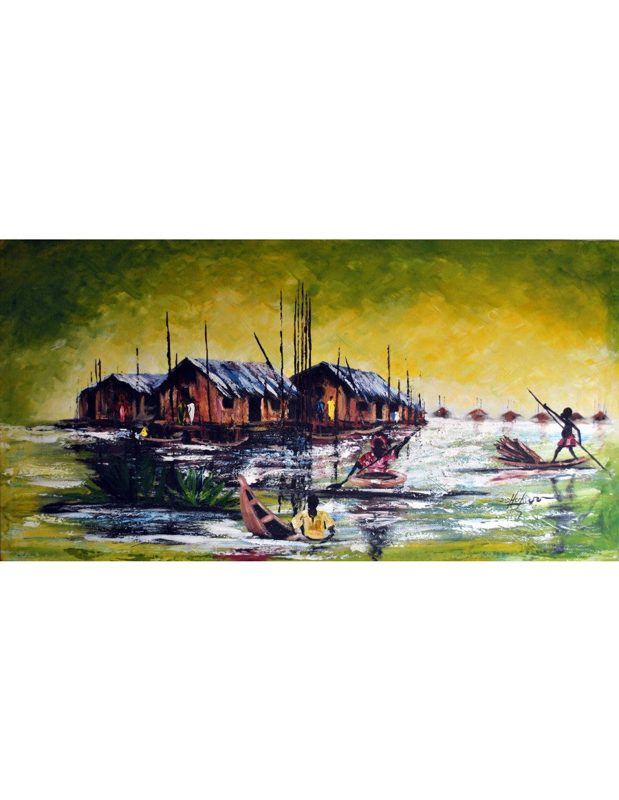 Village on water - oil painting on canvas