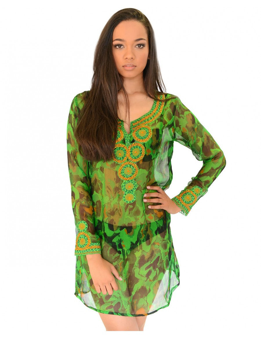 Silk chiffon print kaftan dress
