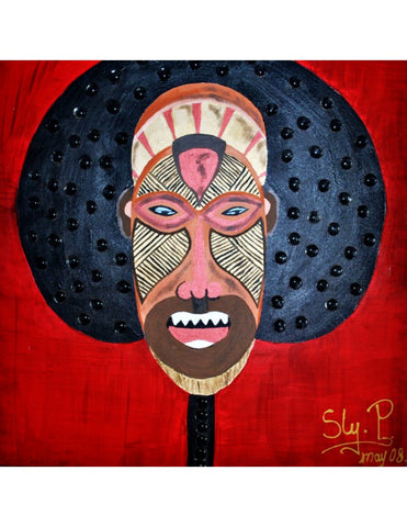 South African mask - oil painting on canvas