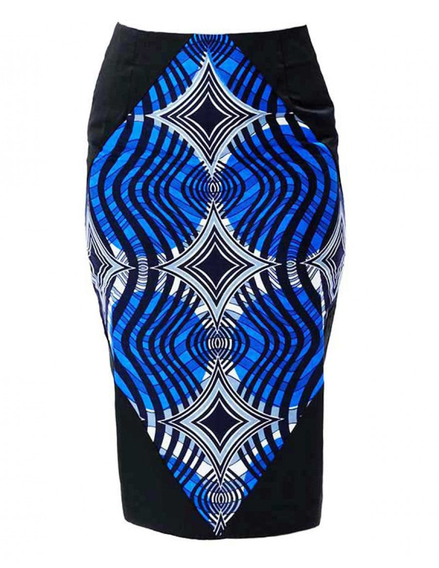 Curve appeal African-print pencil skirt