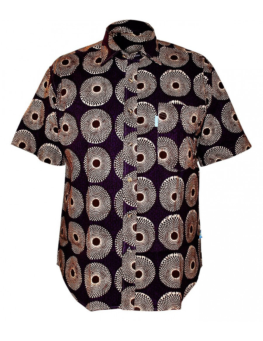 Purple African print short sleeve shirt