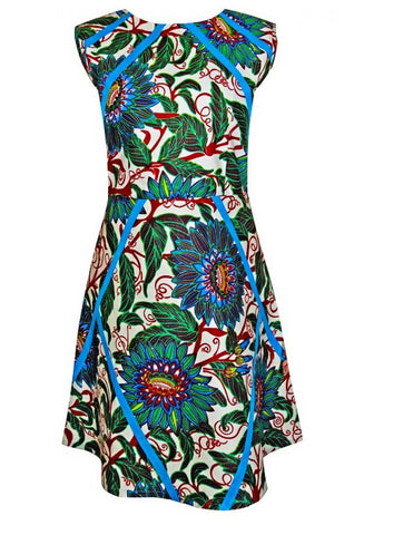 Chic A-line style blue-green floral African print dress