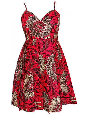Pink Floral African print pleated dress
