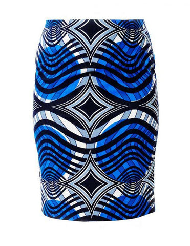 African print blue pencil skirt