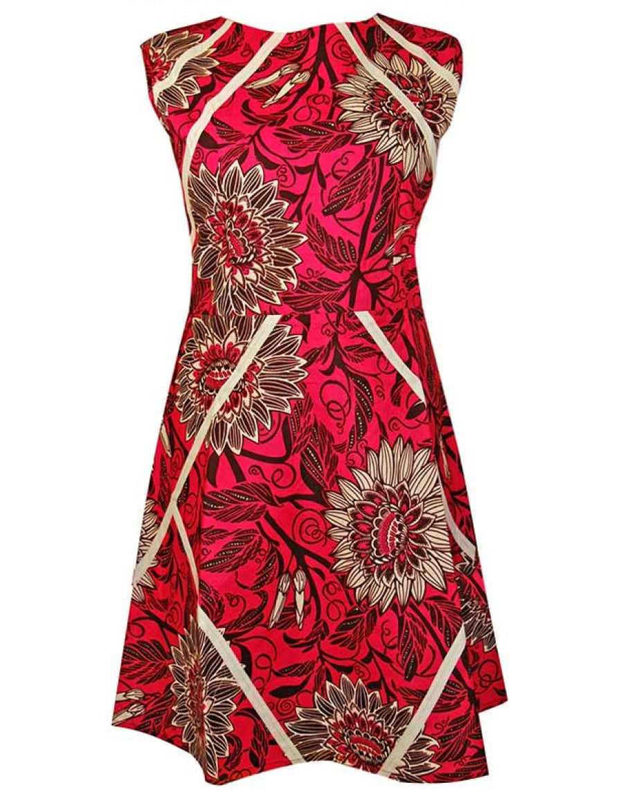 Chic A-line style pink floral African print dress