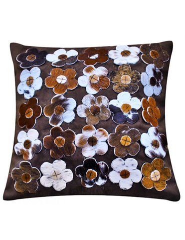Dark brown Nguni flower cushion cover