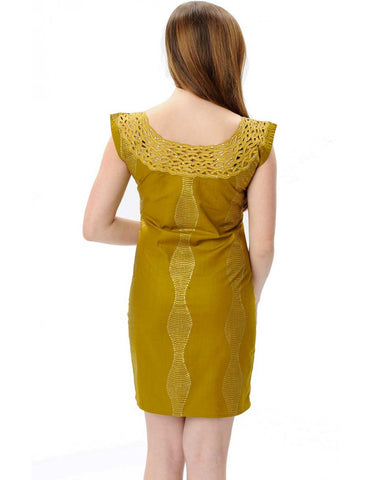Gold Ghanain Woodin print rhinestone dress