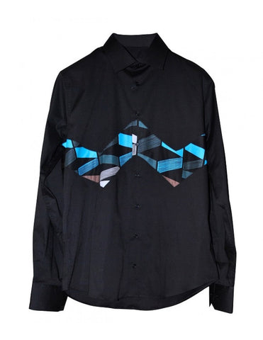 Nefertyty Man - patterned black pure cotton shirt