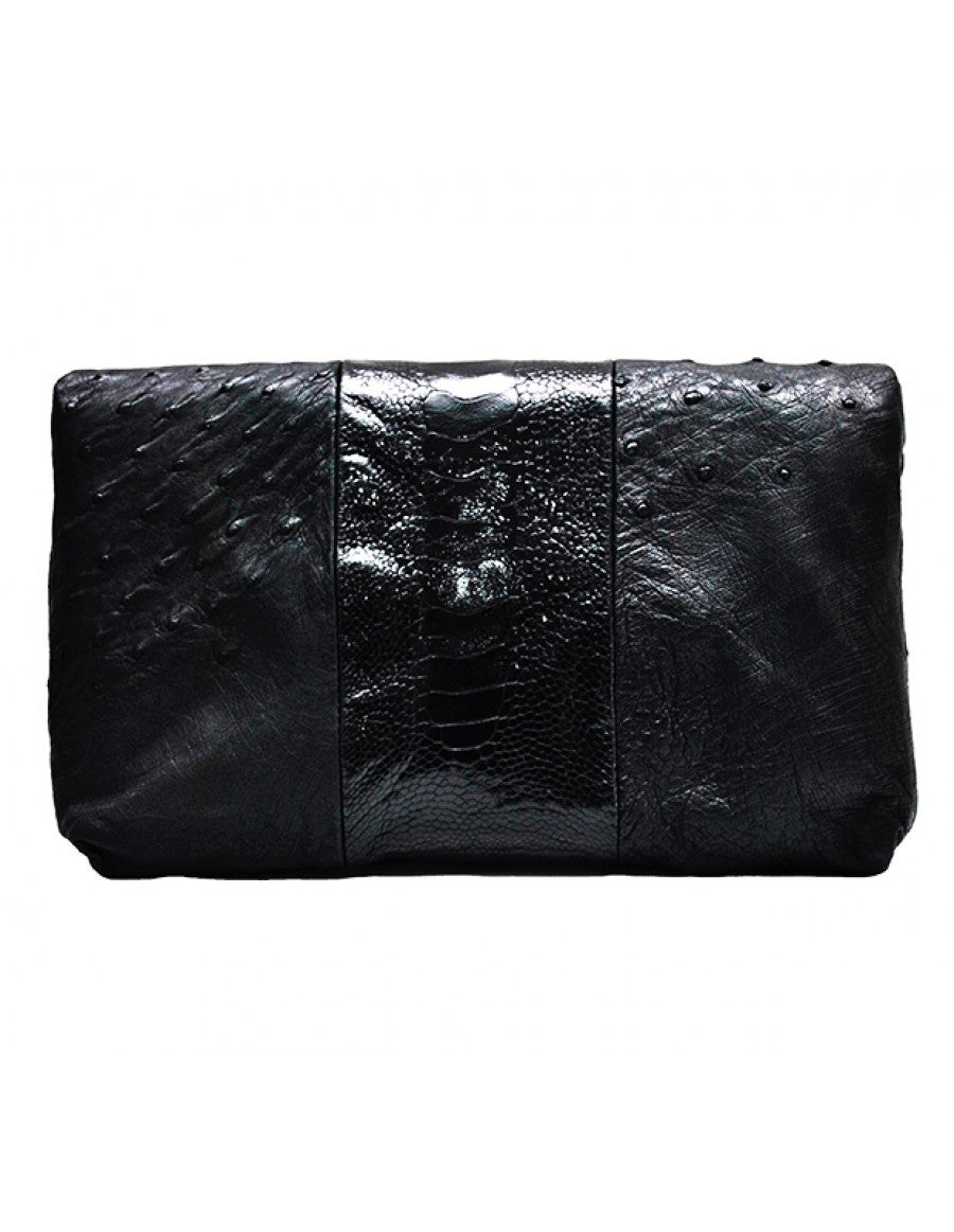 Chimpel luxury black ostrich leather clutch