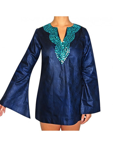 Hand-beaded jacquard kaftan top