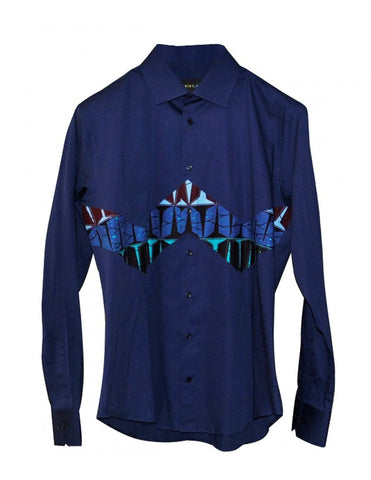 Nefertyty Man - dark blue pure cotton patterned shirt