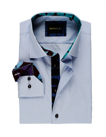 Blue Patterned 100% Swiss Cotton Poplin men's shirt