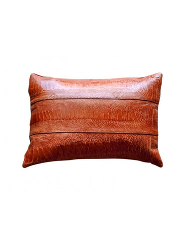 Beautiful burnt orange decorative throw pillow in ostrich shin leather