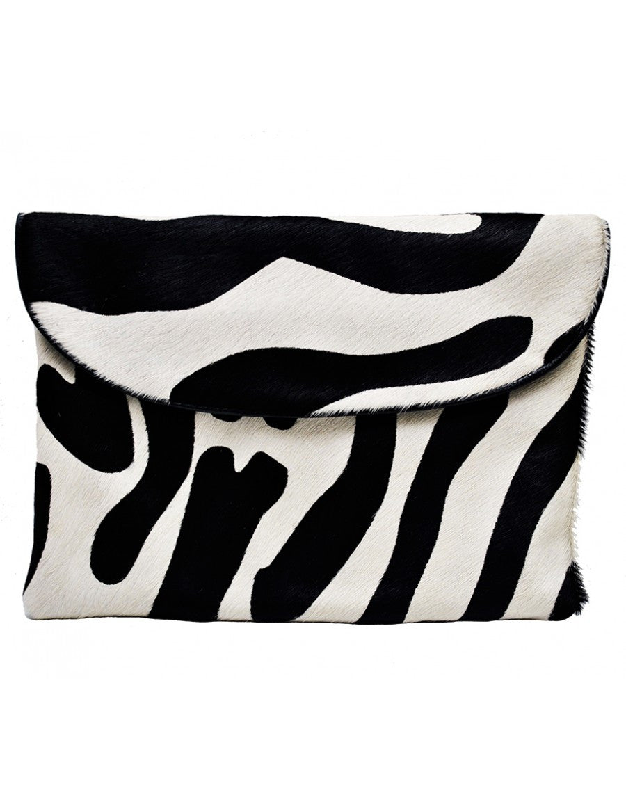 Luxury zebra print leather clutch
