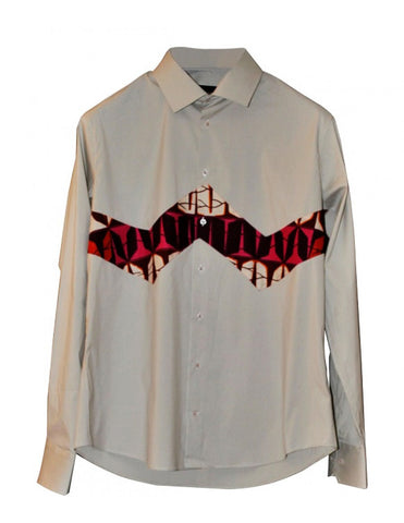Nefertyty Man - patterned pure cotton cream shirt