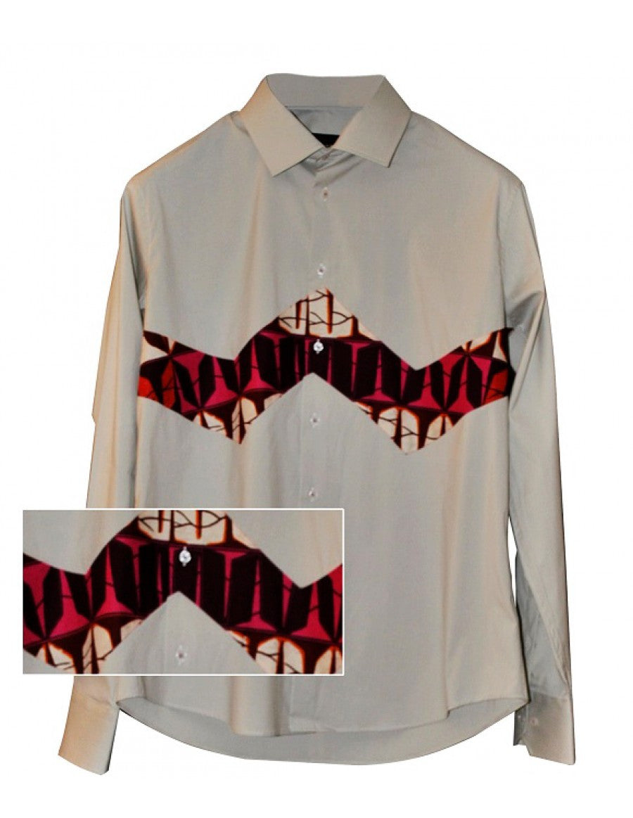Beige pure cotton African-inspired Dutch wax patterned men's casual shirt
