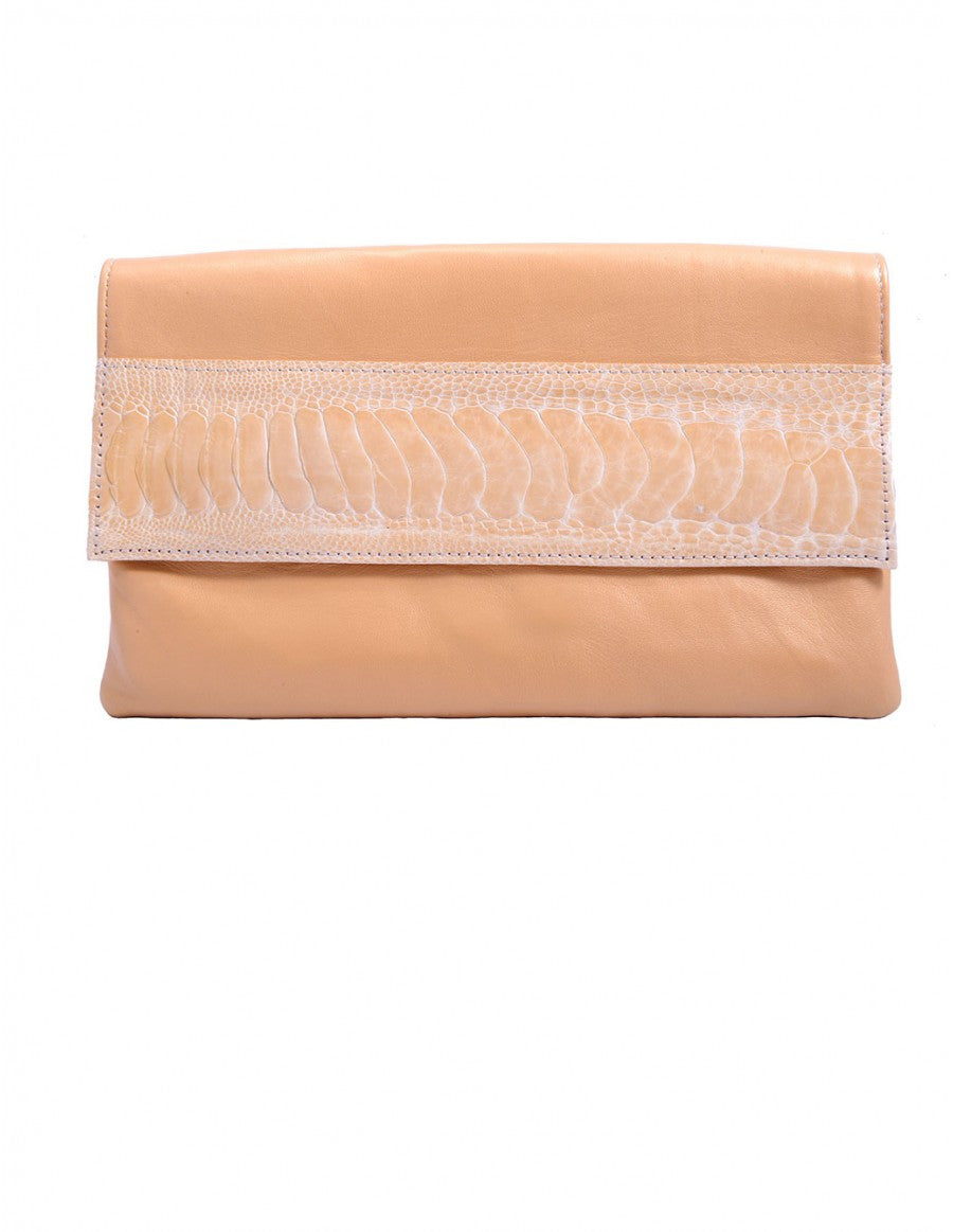 Chimpel luxury cream leather clutch bag