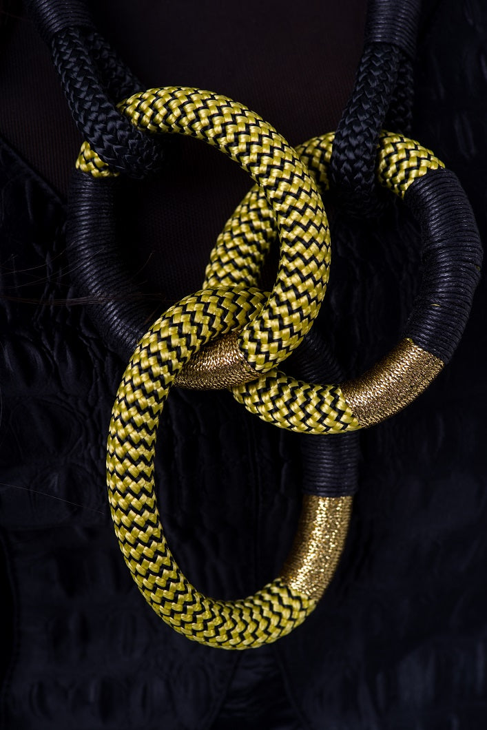 Dynamic Cirque black and gold African handmade statement rope necklace