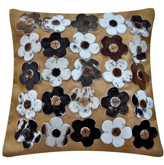 Light brown Nguni flower cushion cover