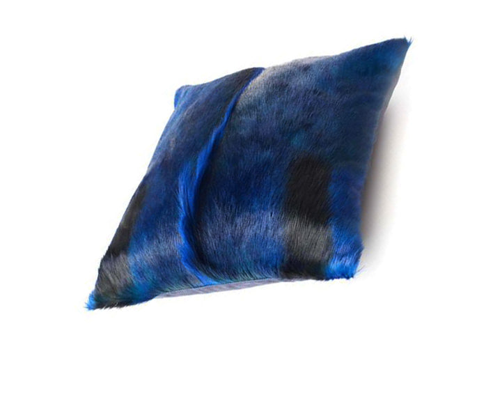 Luxury decorative blue throw pillow from springbok fur