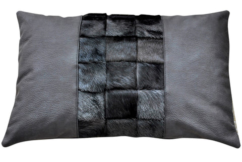 White leather throw pillow with African springbok fur