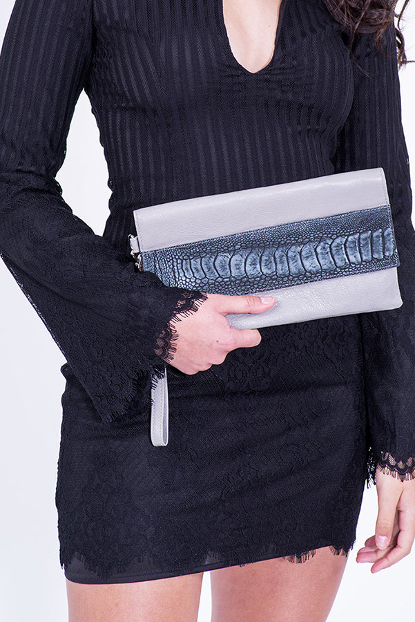 Luxury grey leather clutch
