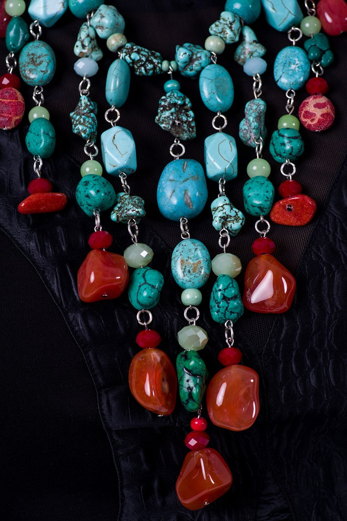 African statement turquoise bib necklace for women | African statement turquoise necklace