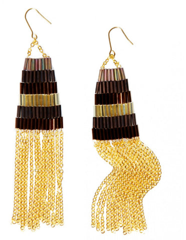 African-inspired handmade Cleopatra gold-plated hoop earrings for women