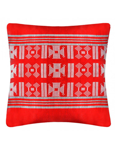 Red handwoven cushion cover, 45 x 45 cm