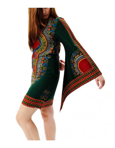 Single-shoulder African-inspired Java print dress