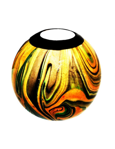 Hand-painted tribal style monkeyball tealight holder