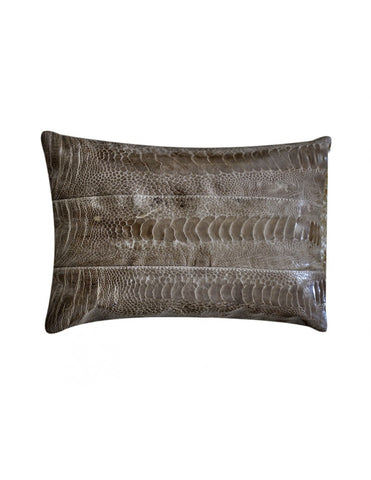 Brown ostrich shin leather decorative throw pillow