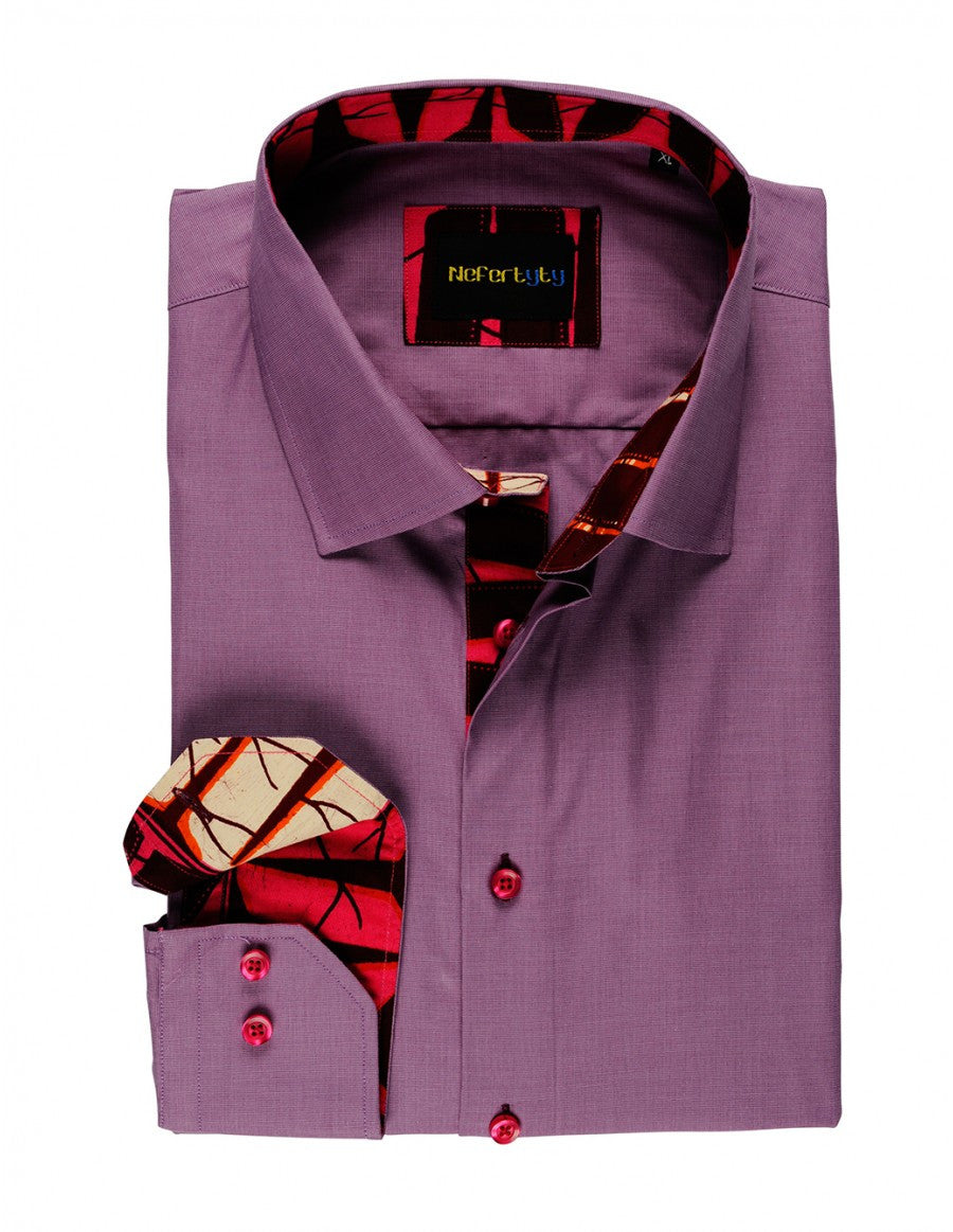 Patterned pastel violet Swiss Cotton-Poplin mens shirt