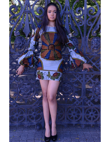 African print bubble sleeve mini dress