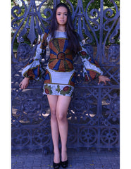 African print bubble sleeve dress