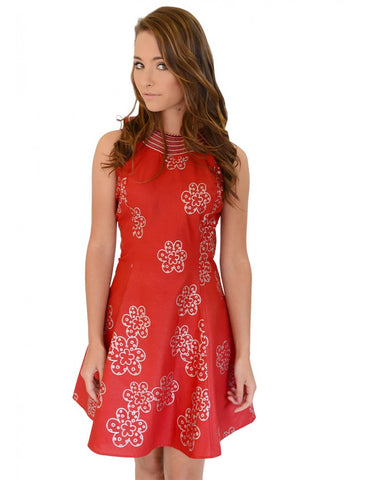 Red embroidered Woodin print dress
