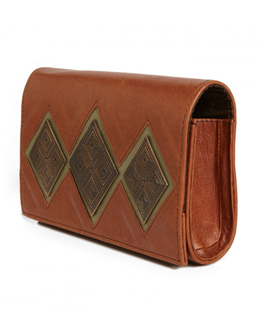 The Reese brown tan clutch purse by Rock & Herr