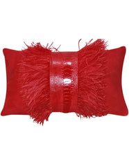Red faux suede decorative throw pillow