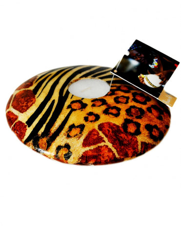 Animal print hand-painted wooden tealight holder