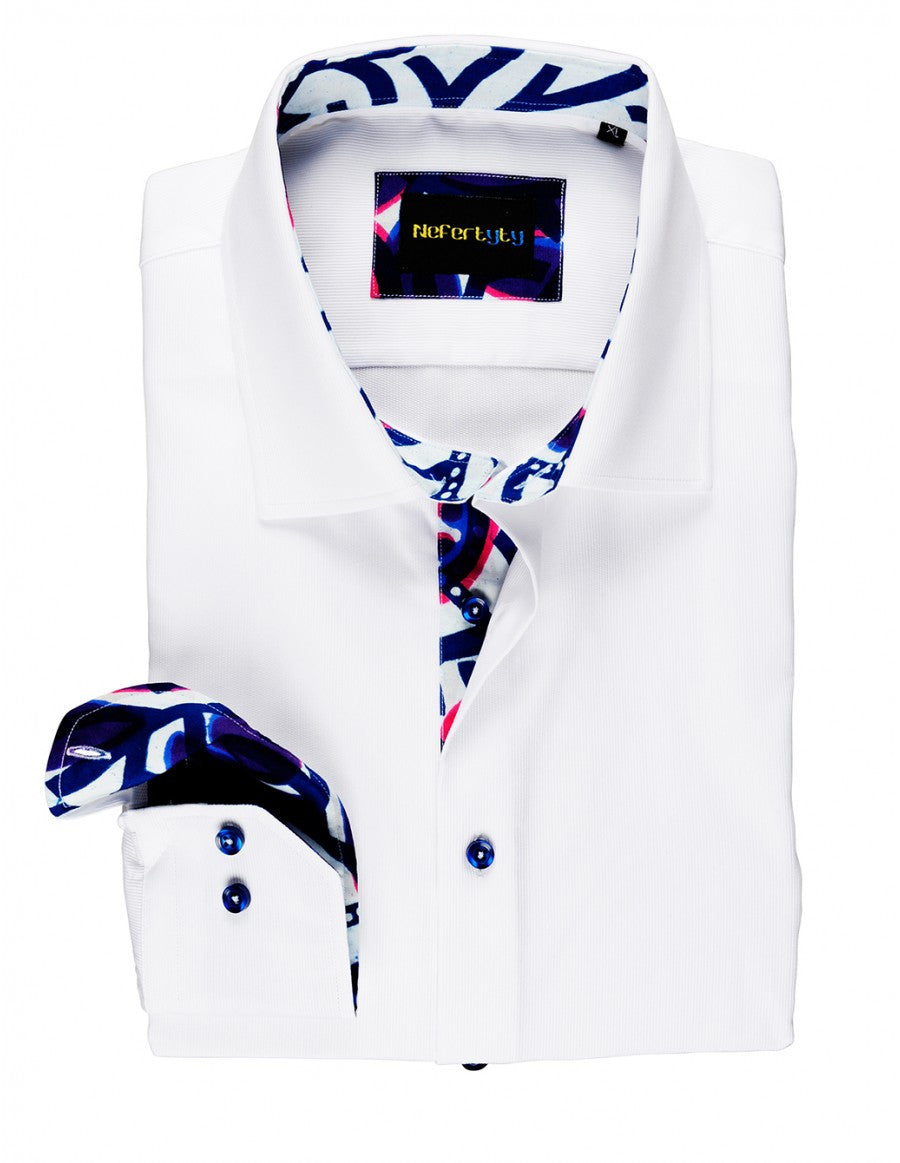 White 100% Swiss poplin men's shirt with African-inspired Dutch wax print accent