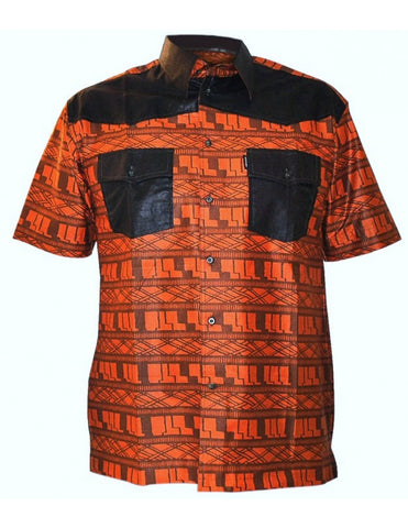 Genuine Ghanaian Woodin print short sleeves shirt in orange