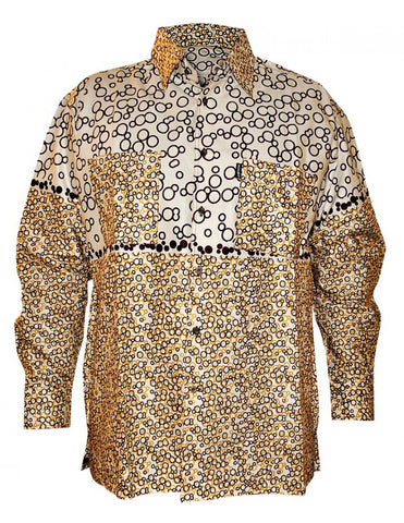 Genuine Ghanaian Woodin print shirt in beige and brown