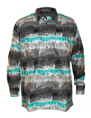 Genuine Ghanaian Woodin print shirt in tones of green, black, and white