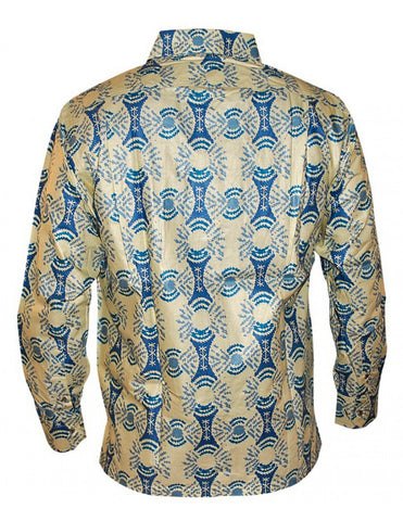Genuine Ghanaian Woodin cream and blue patterned print shirt