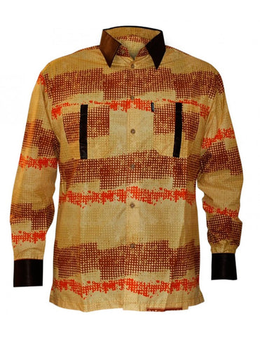 Genuine Ghanaian Woodin print shirt in brown and orange hues