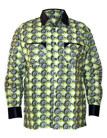 Genuine Ghanaian Woodin green-blue patterned print shirt