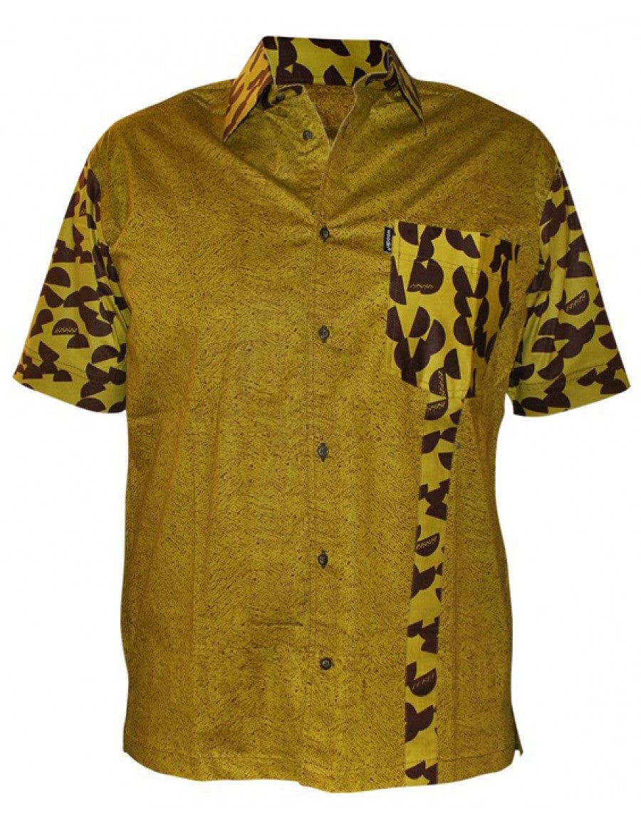 Genuine Ghanaian Woodin African print olive green short sleeve shirt