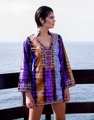 African Tie-dye embroidered kaftan dress