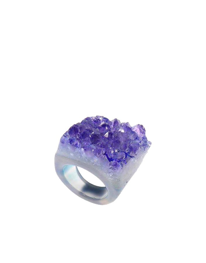 Handmade Purple Agate Druzy semi-precious gemstone ring